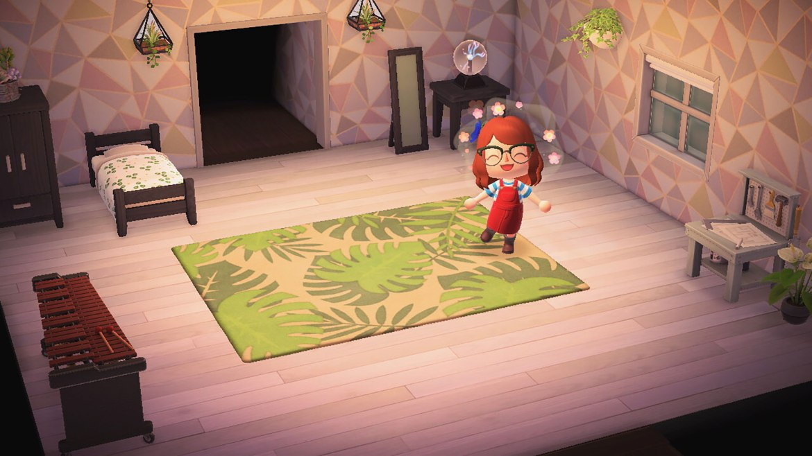 """""""Animal Crossing: New Horizons"""" screenshot of my character posing in my in-game house."""