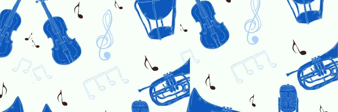 Several violins, trumpets and music notes that are various shades of blue floating on a white background