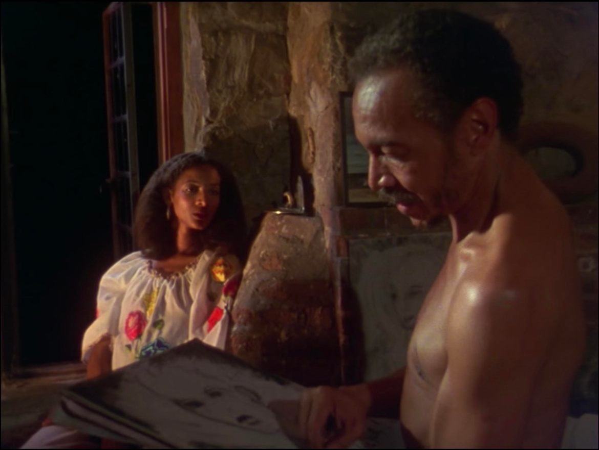screenshot from Losing Ground depicting Victor (played by Bill Gunn) and Sara (played by Seret Scott)