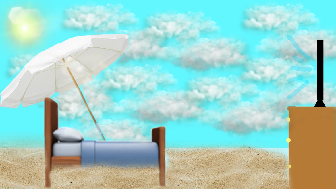 illustration of bed outside on a beach