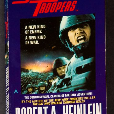 A shot of the cover of Robert A. Heinlein's book Starship Troopers.
