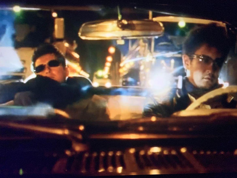 screenshot from Gozu of Minami and Ozaki in a car