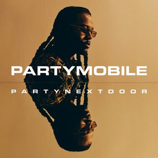 """This is a picture of PARTNEXTDOOR with his name and """"PARTYMOBILE"""" across the cover and his face reflected horizontally across the cover."""