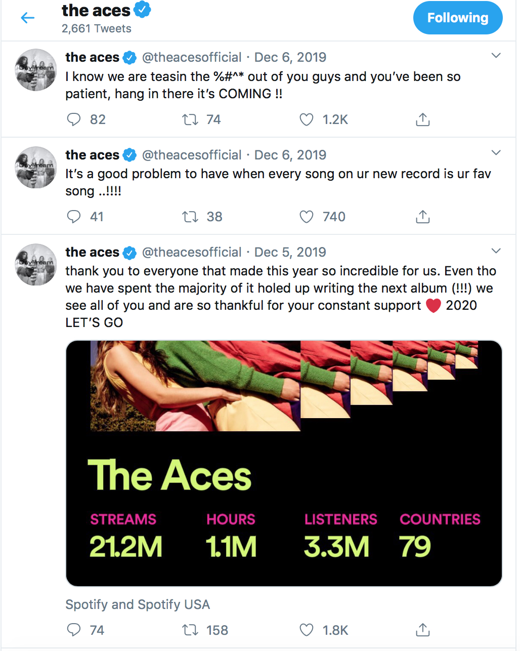 Three tweets from The Aces are shown, each giving a new update about their upcoming album.