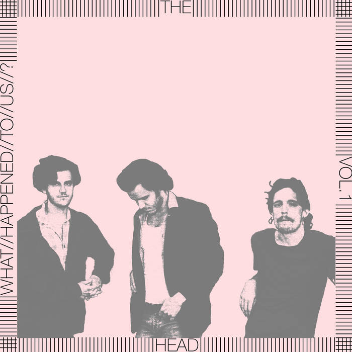 The album cover is a pale pink that has three figures on it, the members of the band. The sides of the cover have the name of the album and the band.