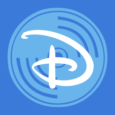 """A royal blue background with a light blue record disk with the Disney """"D"""" logo in the center."""