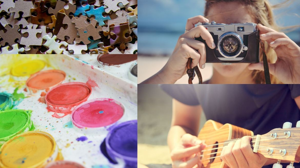 A collage of pictures of different activities
