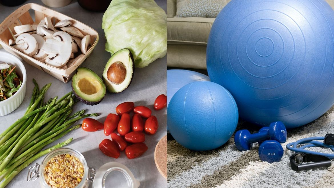 Collage of pictures of gym equipment and foods
