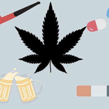 Marijuana leaf, cigarette, 3 pills of different colors, a pipe for smoking, and 2 beer mugs are placed against a light grey backdrop to showcase different substance options.