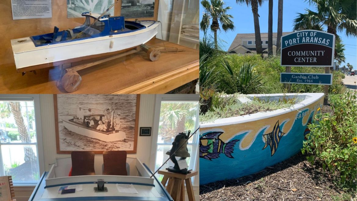 Three photos are collaged together. The photo in the upper left corner is inside the Port Aransas' museum and has a replica of the Farley boat used during President FDR's tarpon fishing trip. The photo below is also in the museum and has a large photograph of FDR with his tarpon catch on the wall along with other museum displays.