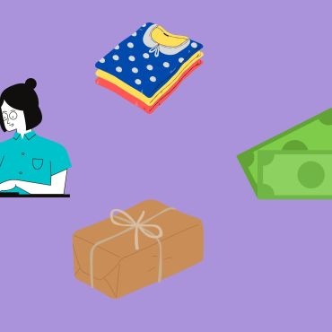 Images on purple background going clockwise of folded clothing, money, a brown paper package, and a girl using a laptop.