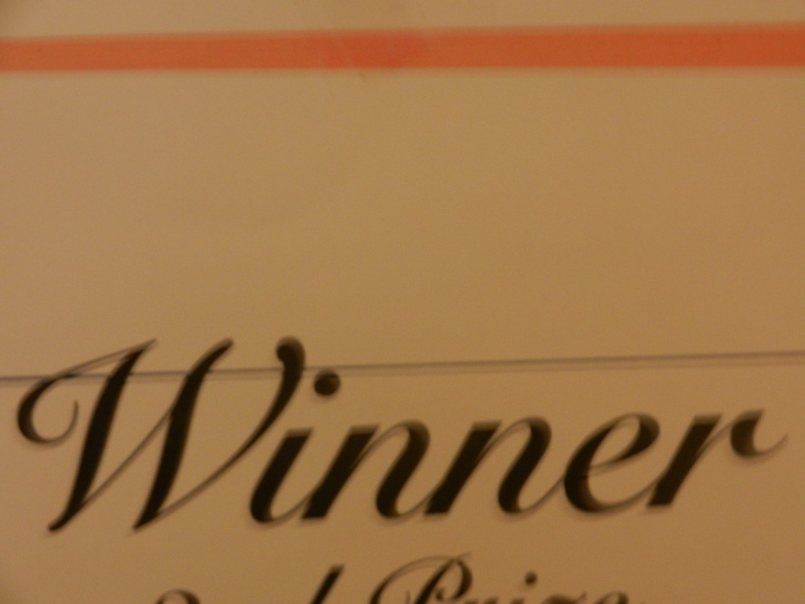 A glimpse of a middle school competition certificate.