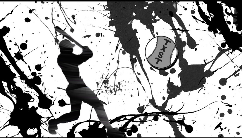 Black and white paint splatter graphic shows a silhouette baseball player swinging a bat.