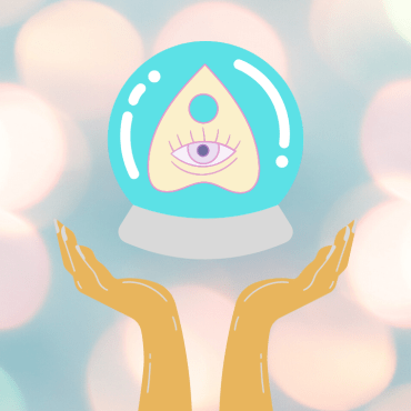 Image of hands holding a crystal ball with picture of planchette.
