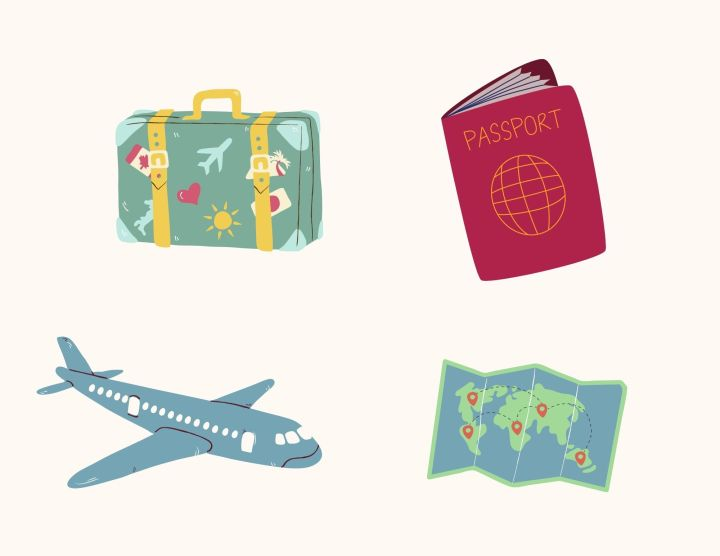 passport, map, suitcase, and an airplane