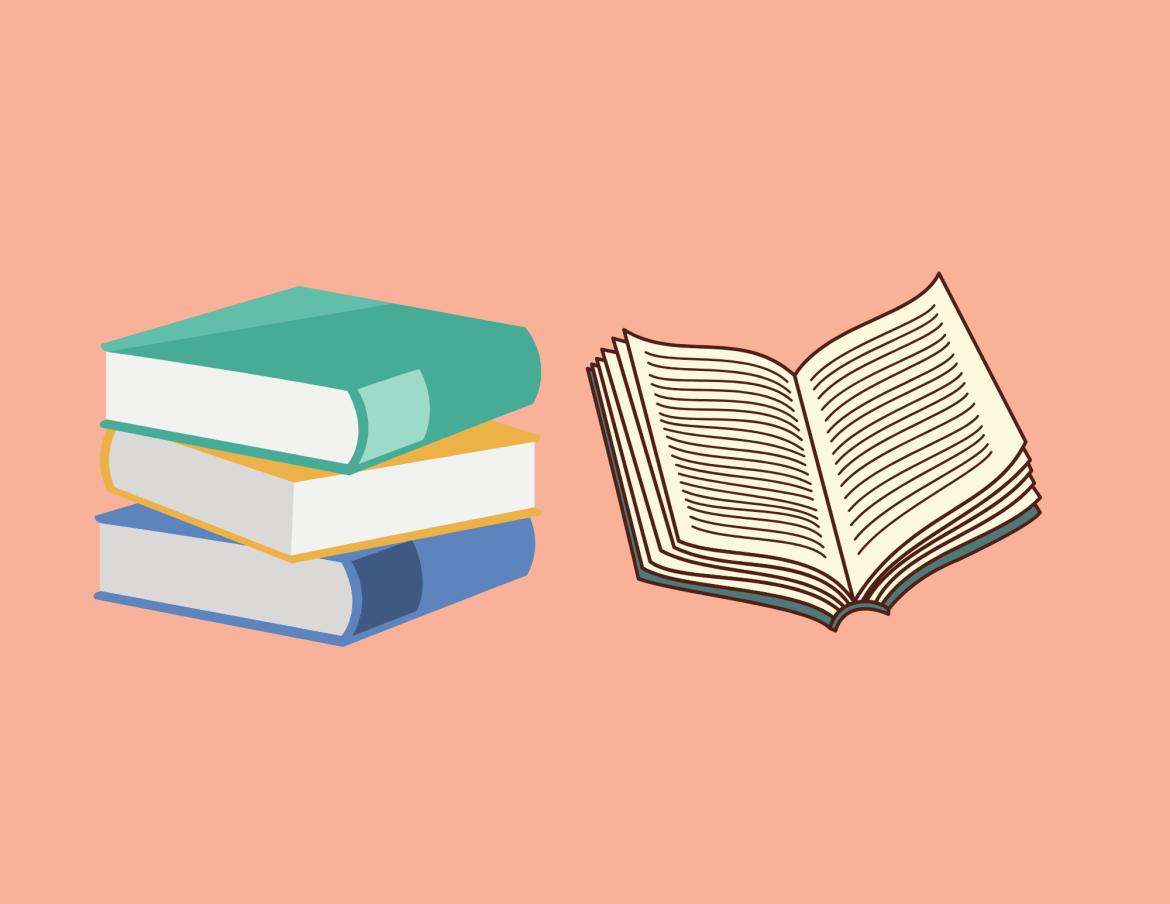 stack of books and an open book on empty background