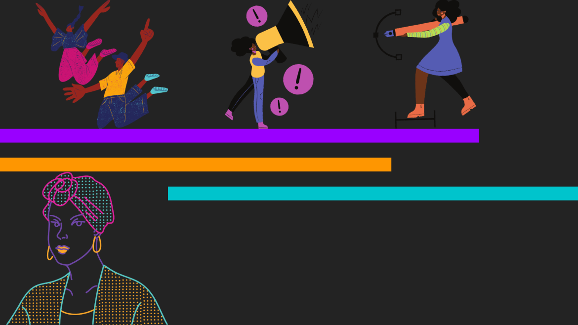 A photo of cartoon-drawn people on a black, purple, and turquoise background