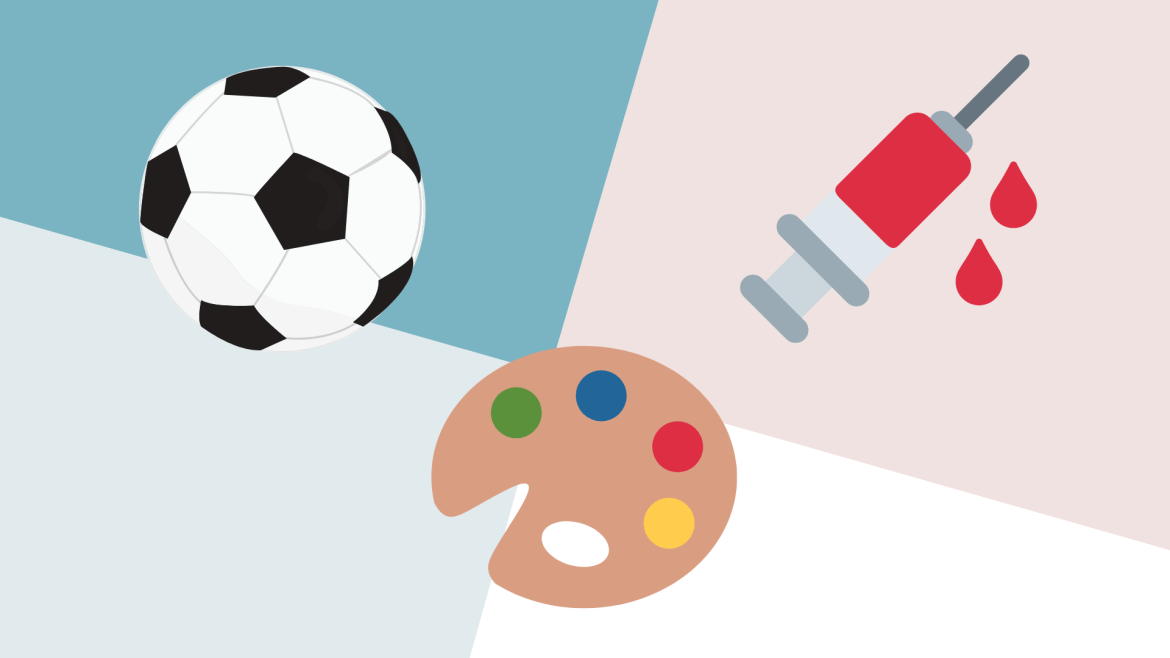 A photo of a soccer ball, art palette, and needle