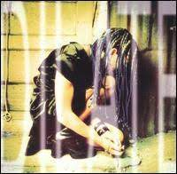 The cover is of DiFranco crouched down, wearing all black clothing. Her hair hangs in front of her face with the word dilate covering the entire image. The image is also slightly saturated.