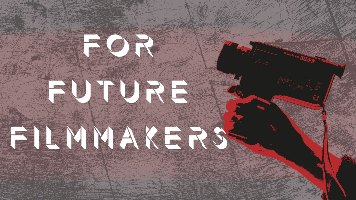 crackers background with hand holding a video camera (red) and text saying for future filmmakers