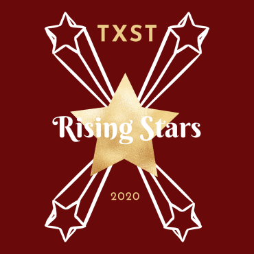 A gold star in the middle of a maroon background