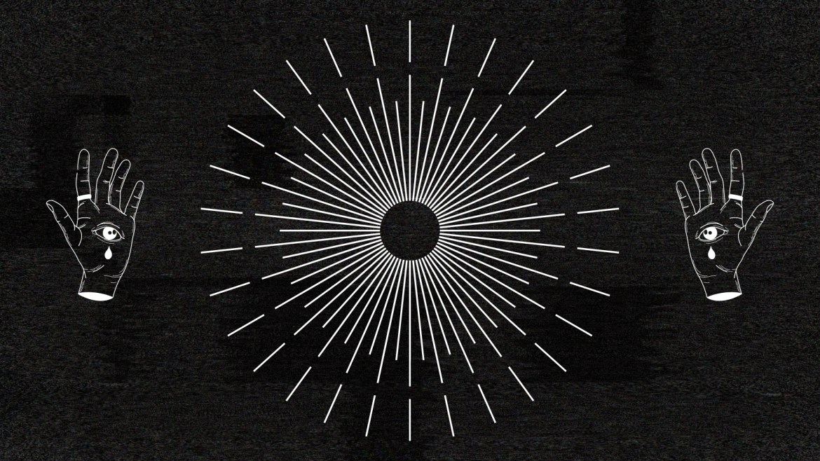 Black and White photo of a pair of occult-styled hands, on either side of a circular burst design, superimposed over a dark TV static-like background.
