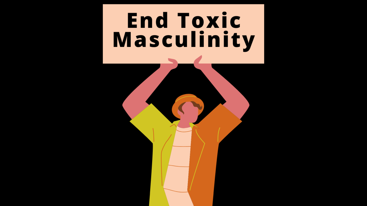 """An animated man holding up a sign that says """"End Toxic Masculinity"""""""