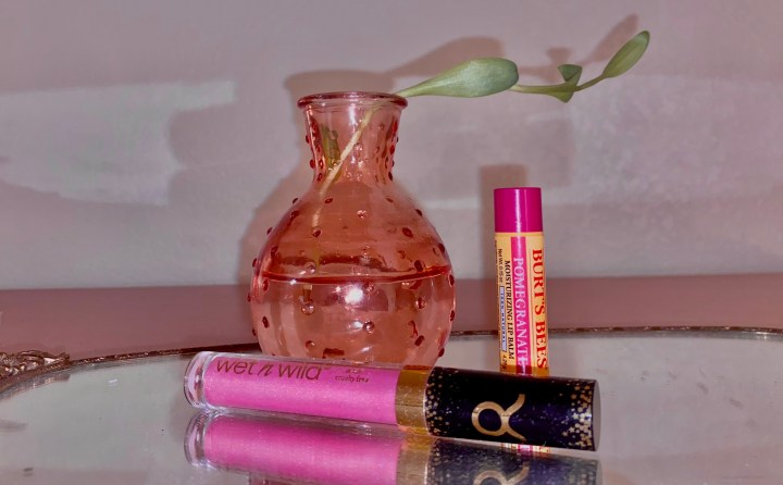 Lip products on mirror tray