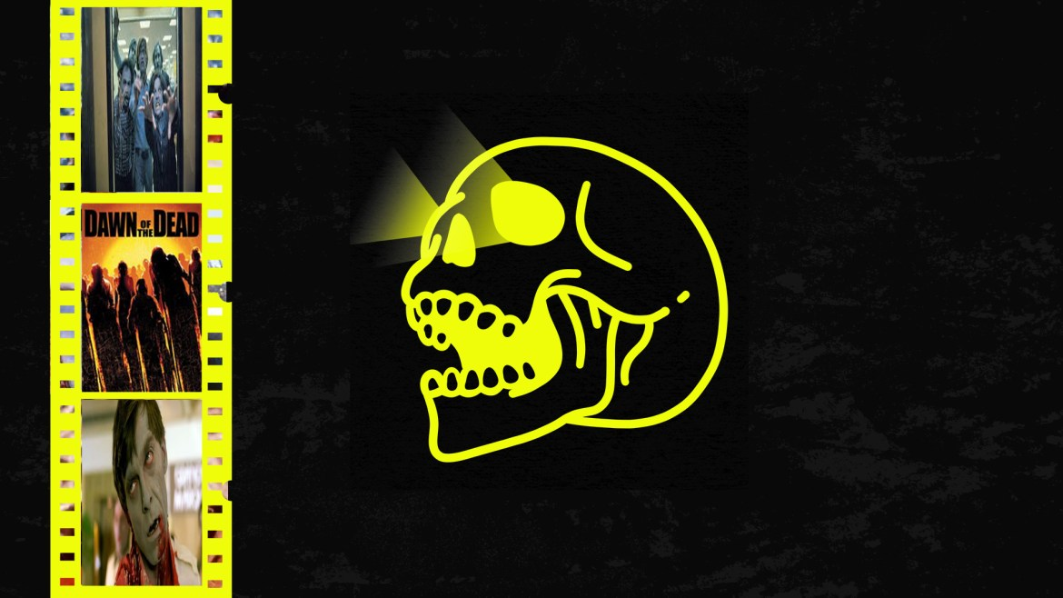 black background yellow skull and yellow film reels with clips from dawn of the dead