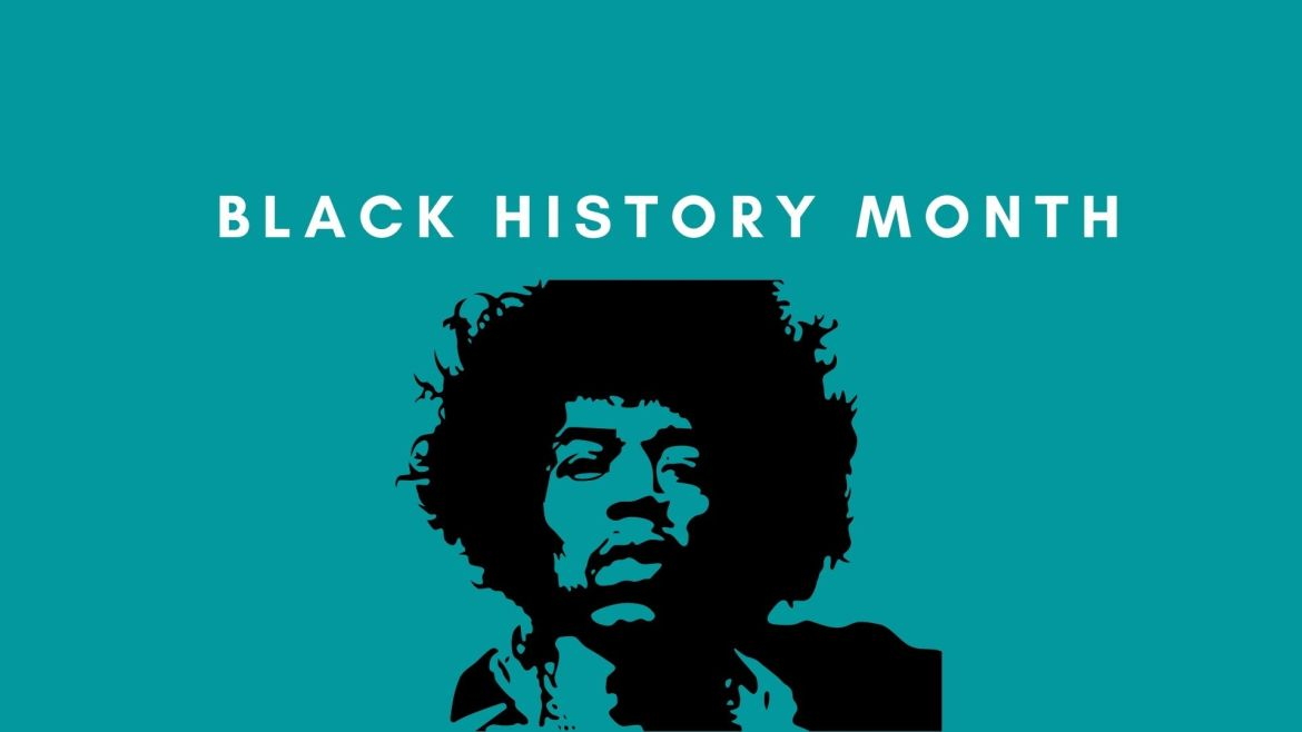 """An image with a blue background, Jimi Hendrix and the text """"Black History Month."""""""