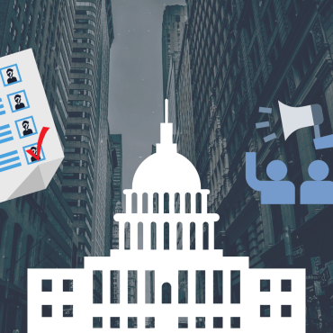 An image of a cityscape with the capital, voting ballot, and speaker illustrations.