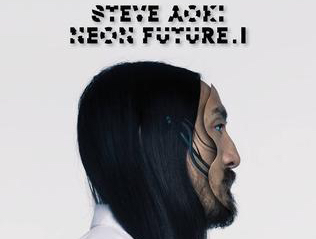 Steve Aoki's profile with the his name and the title of the album, Neon Future I, over his head