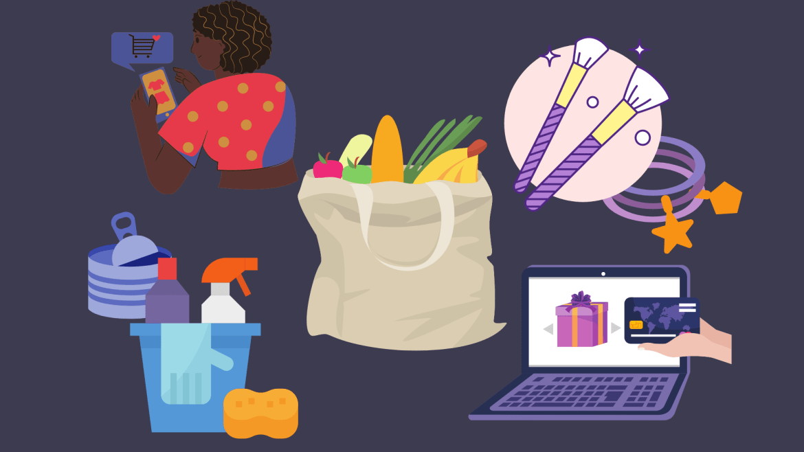 Illustration of a grocery bag, and various cartoon drawings of items such as cleaning tools, makeup, and online shopping surrounding it.