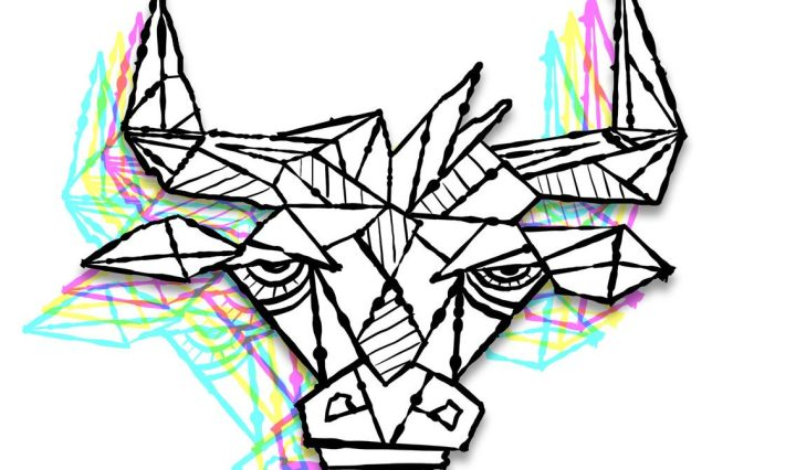 The album cover is an abstract outline drawing of an ox.