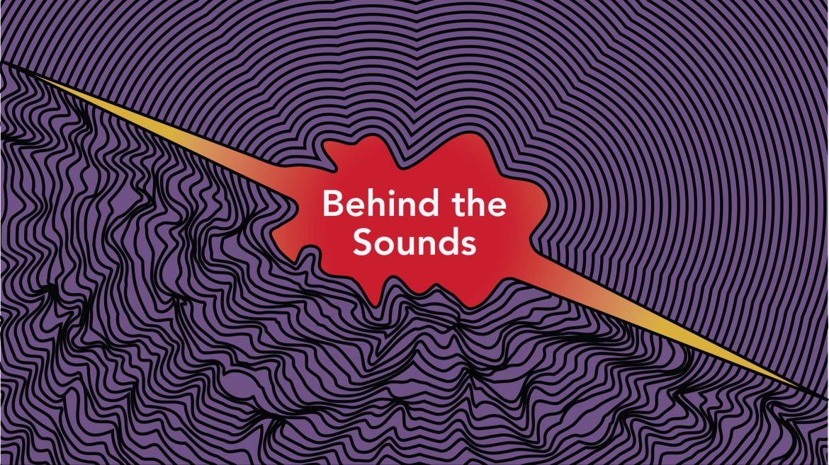 purple background with black sound waves coming from middle red design with behind the sounds written in white