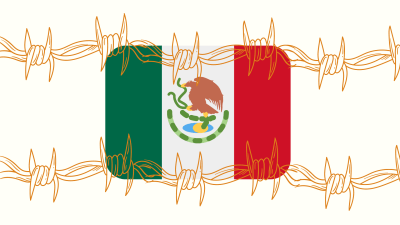 Illustration of the Mexican flag with barbed wire across it.