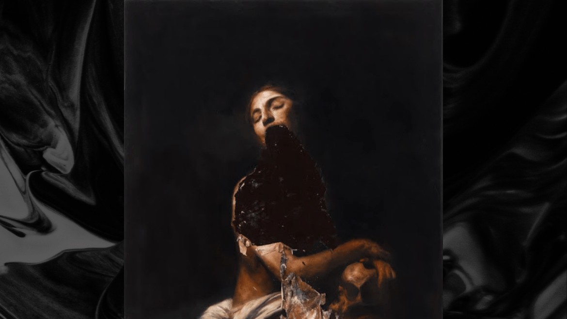 Renaissance-esque painting of a woman sitting, with the middle of the painting looking badly damaged, masking the woman's lower jaw and chest