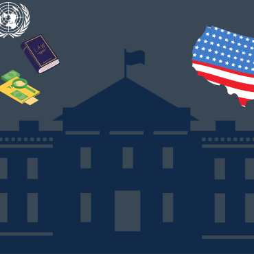 Illustration of the white house with a speaker on the left side and an outline of the United States on the right.