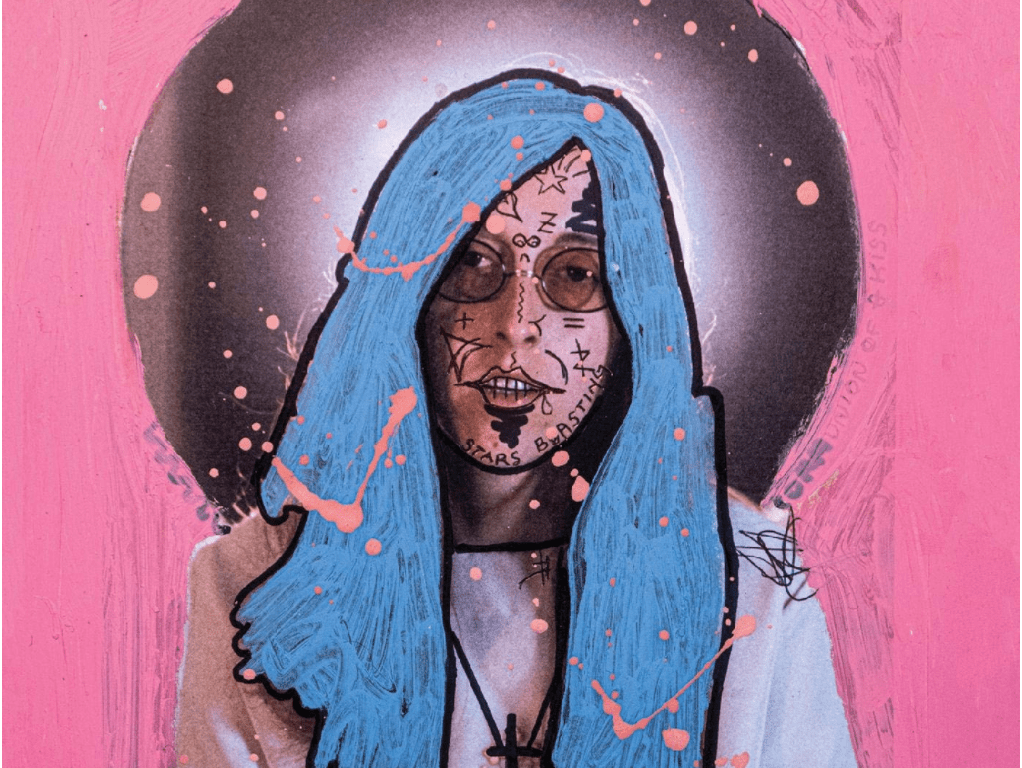 Blue-haired Judee Sills covered in writing and graffiti in front of a black circle in a pink background.