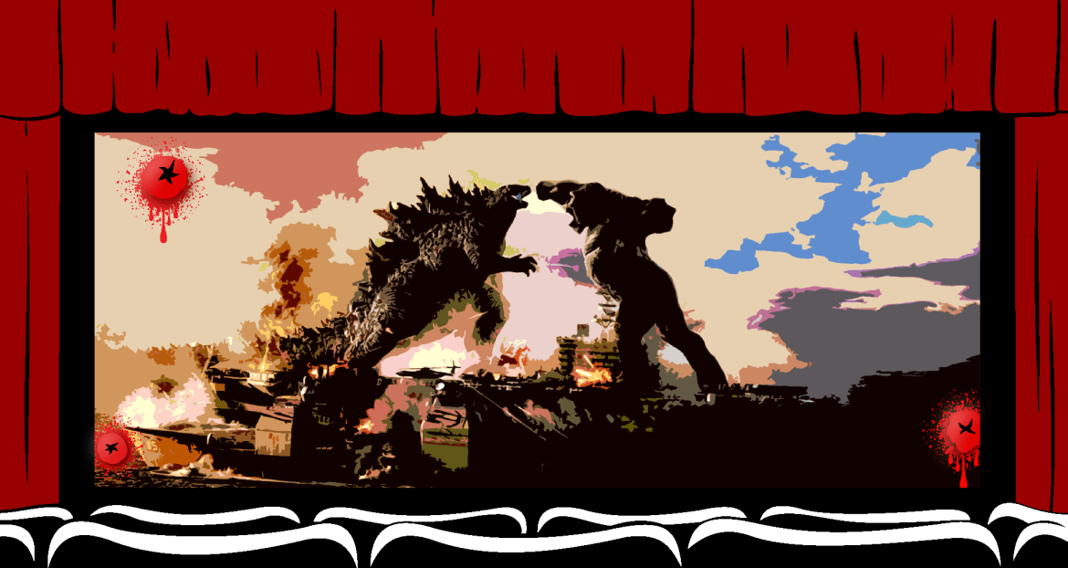 movie theatre graphic with image from godzilla vs king kong