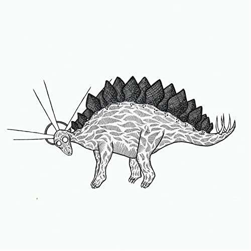 A psychedelic illustration of a stegosaurus, shaded in black and white.