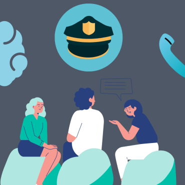 Image of three people in a conversation with illustrations of a police hat, phone, and brain surrounding them.