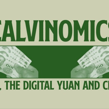 """""""China, the Digital Yuan and Crypo"""" all in green font on a tan background."""