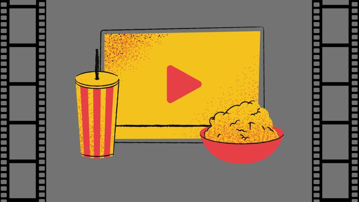 rey background with two black film reels on the left and right side. In the center is an image of a soda cup, popcorn and a streaming movie play symbol in the colors of red and yellow.