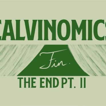 """A green background with the words """"calvinomics fin pt. 2"""" written"""