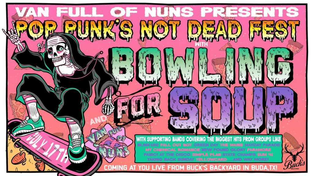 Graphic for the Pop Punk's Not Dead fest 2021, including an illustration of a skater with a colorful background