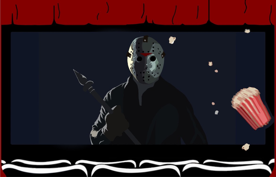 A design of a theater with a scene from Jason Lives