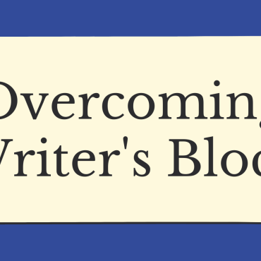 """Blue background with office supplies around the edges. Titled """"Overcoming Writer's Block"""""""