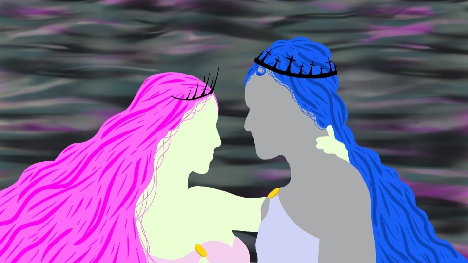 An cartoon style illustration of Persephone and Hades is shown. Persephone has light green skin, pink hair, and a light pink dress. Hades has grey skin, blue hair, and light grey blue toga. The two are facing each other, and Persephone has her hand on Hades's neck. The background is a smog with greys, blacks, pink, and light yellow.