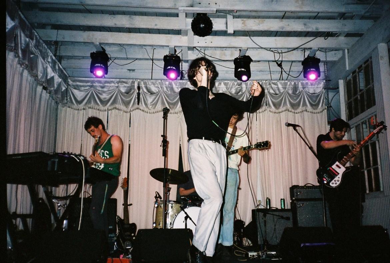 The Shooks band: Marlon Sexton (Center), Matt Erlandson (Left), Muddy Pierce (Rear, drums), Deven Ivy (Center, Guitar), and Colton Kindaid (Right).